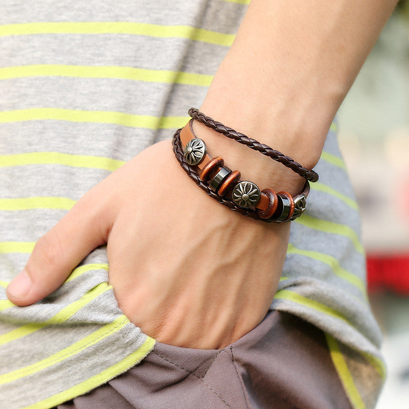 Fashion Flower Beaded Leather Bracelet - Oh Yours Fashion - 3