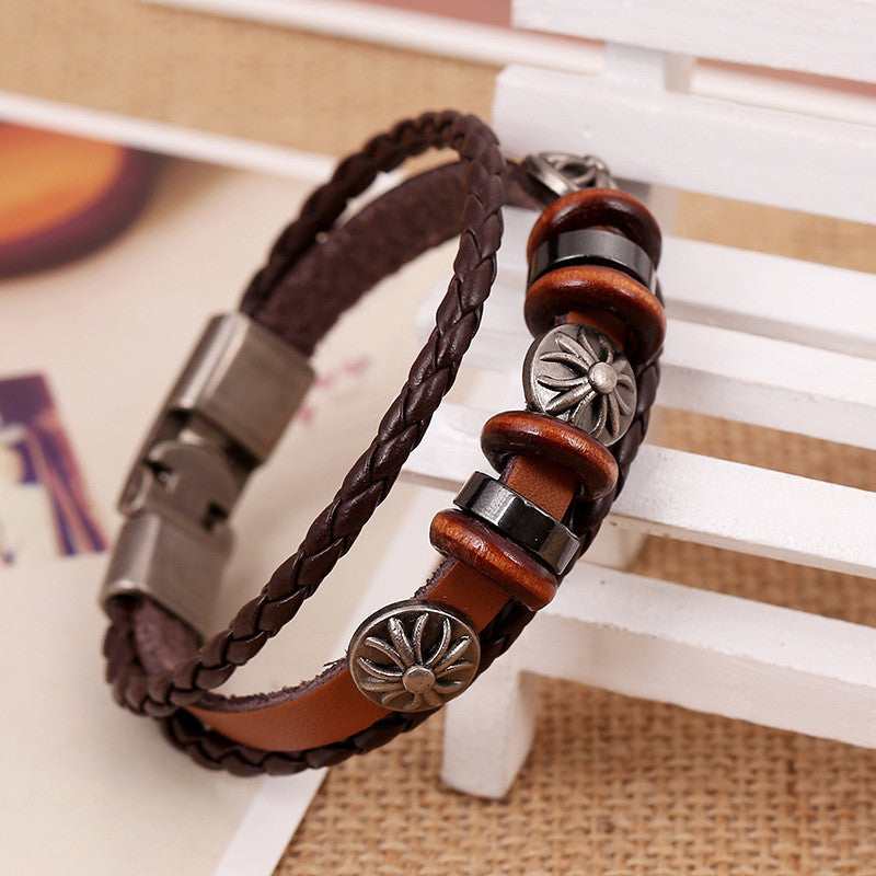 Fashion Flower Beaded Leather Bracelet - Oh Yours Fashion - 5