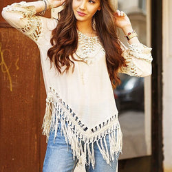 Cover Up Hole Tassel V-neck 3/4 Sleeves Casual Patchwork Blouse - Oh Yours Fashion - 1
