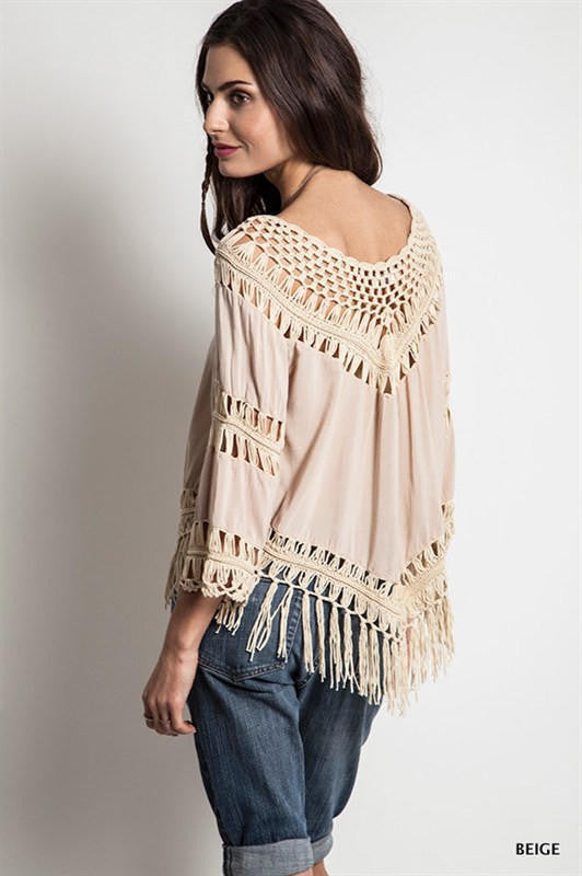 Cover Up Hole Tassel V-neck 3/4 Sleeves Casual Patchwork Blouse - Oh Yours Fashion - 5