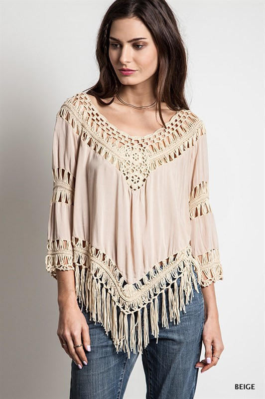 Cover Up Hole Tassel V-neck 3/4 Sleeves Casual Patchwork Blouse - Oh Yours Fashion - 2