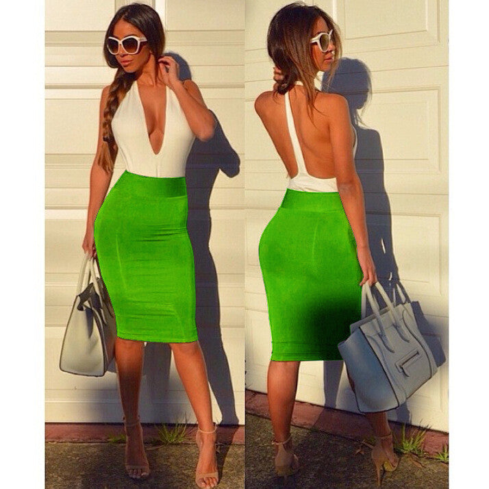 Deep V-neck Backless Sheath Bodycon Knee Length Dress - Oh Yours Fashion - 1