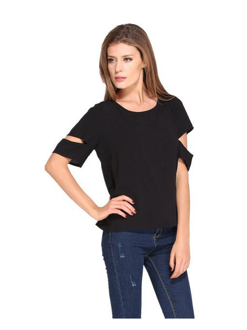 Scoop Short Sleeves Cutting Backless Split Chiffon Falbala Blouse - Oh Yours Fashion - 5