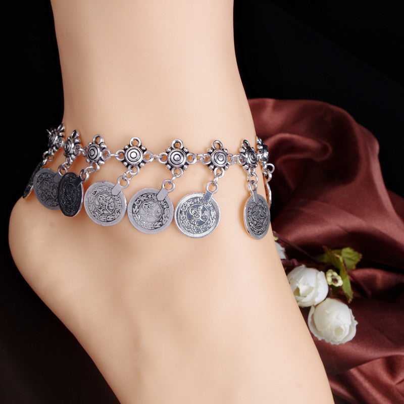 Retro Coin Tassel Anklet - Oh Yours Fashion - 1