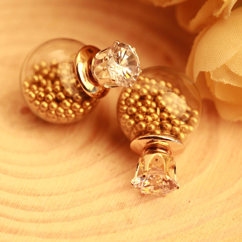 Color Quicksand Zircon Crystal Ball Earring - Oh Yours Fashion - 5