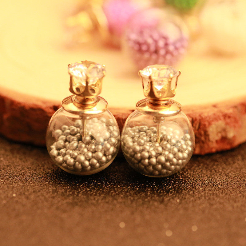 Color Quicksand Zircon Crystal Ball Earring - Oh Yours Fashion - 6