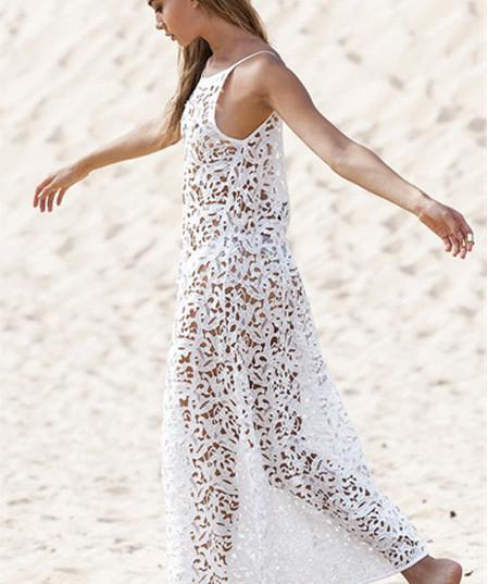 Leaves Lace Transparent Backless Cover Up Beach Dress - Meet Yours Fashion - 4