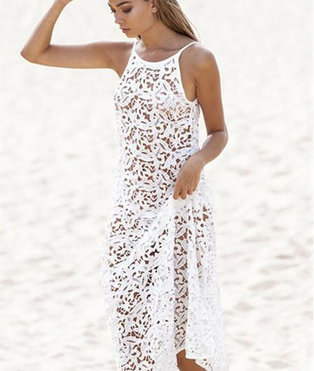Leaves Lace Transparent Backless Cover Up Beach Dress - Meet Yours Fashion - 3