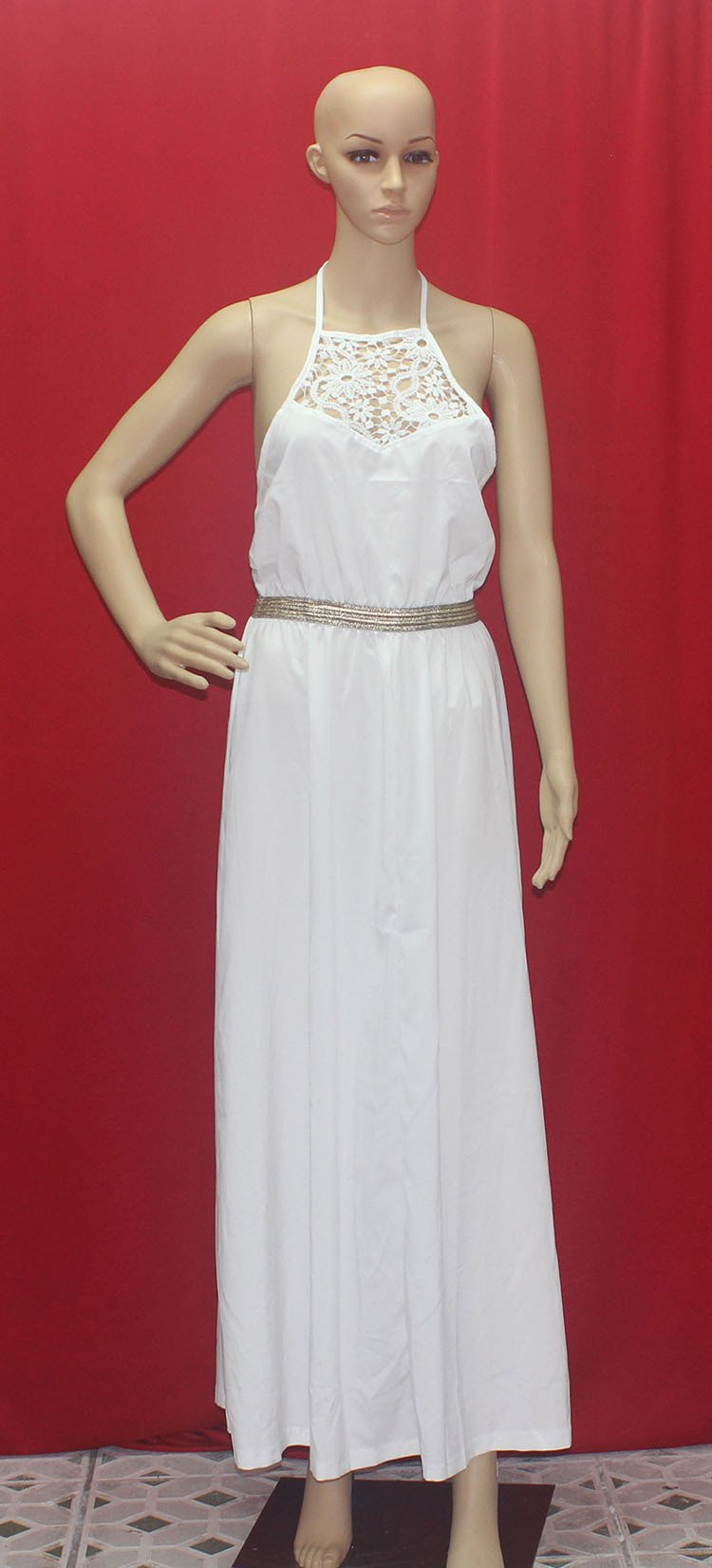 Summer Style White Lace Bear Shoulder Halter Maxi Long Dress - MeetYoursFashion - 3