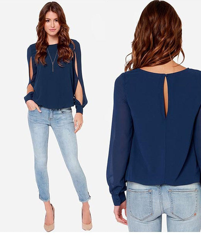 Scoop Long Sleeves Split Casual Chiffon Blouse - Oh Yours Fashion - 1