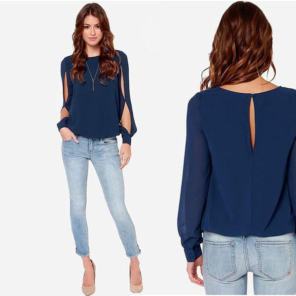 Scoop Long Sleeves Split Casual Chiffon Blouse