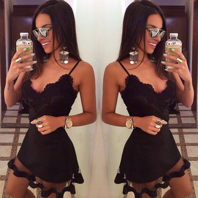 Sexy Black Lace Spaghetti Strap Splicing Short Dress - Oh Yours Fashion - 1