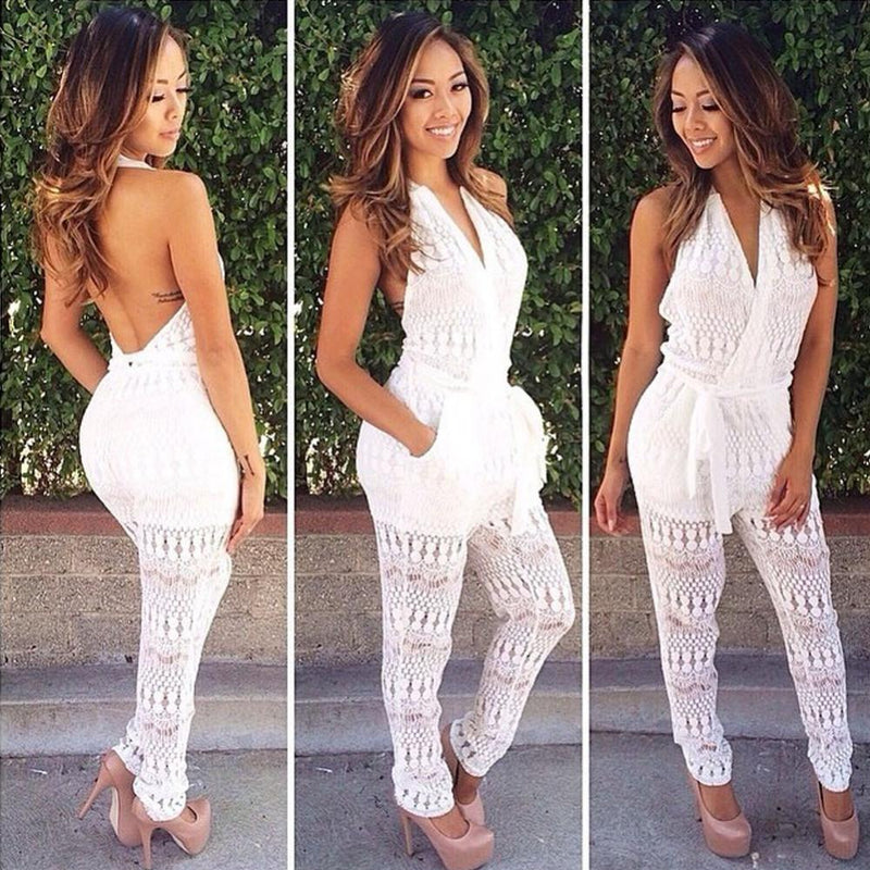 Backless Sexy Transparent Halter Lace V-neck Long Jumpsuits - Meet Yours Fashion - 1
