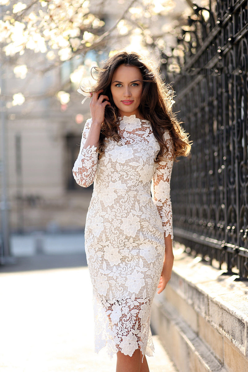 Gorgeous White Lace Bodycon Dress - Oh Yours Fashion - 4