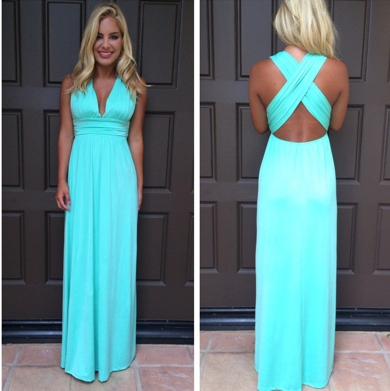 V-neck Cross Backless Sleeveless Long Dress - Oh Yours Fashion - 4