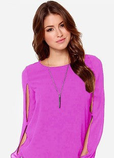 Scoop Long Sleeves Split Casual Chiffon Blouse - Oh Yours Fashion - 7