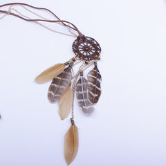 Dreamcatcher Hand-Woven Feather Necklace Sweater Chain - Oh Yours Fashion - 2