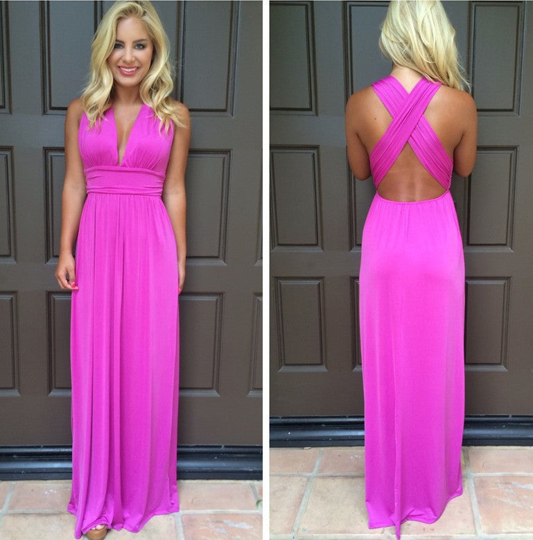 V-neck Cross Backless Sleeveless Long Dress - Oh Yours Fashion - 1
