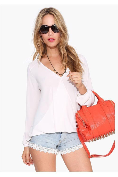 Deep V-neck Long Sleeves Chiffon Plus Size Blouse - Oh Yours Fashion - 6