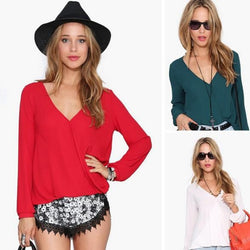 Deep V-neck Long Sleeves Chiffon Plus Size Blouse - Oh Yours Fashion - 1