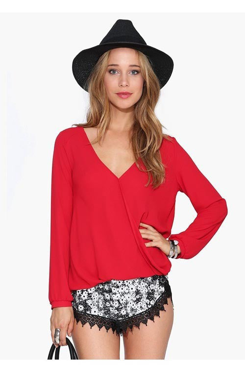 Deep V-neck Long Sleeves Chiffon Plus Size Blouse - Oh Yours Fashion - 5
