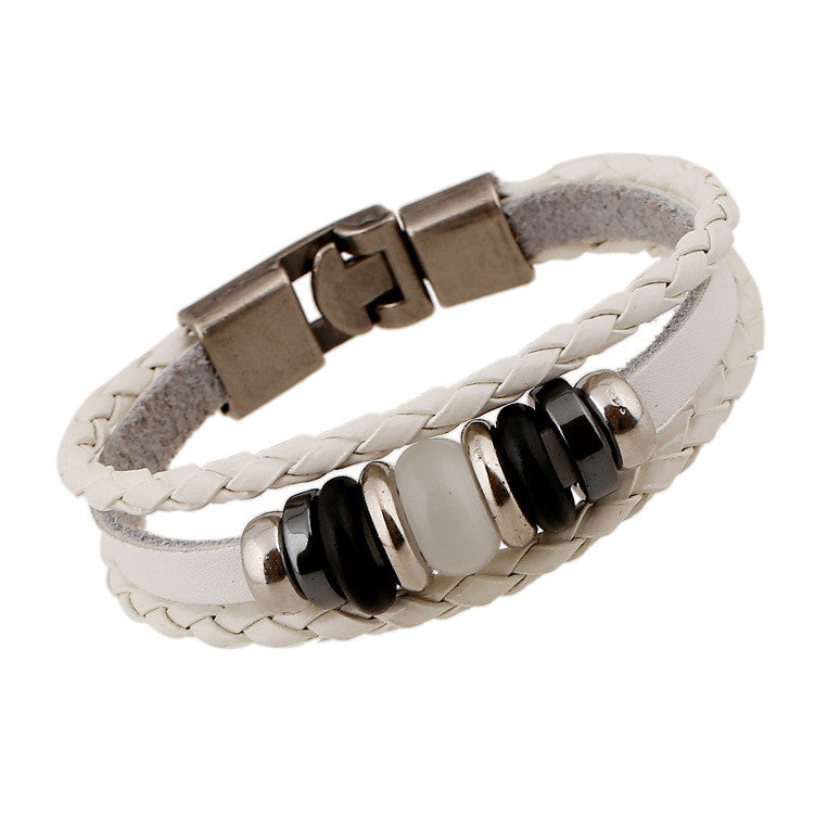 Hand-woven Multicolor Beaded Leather Bracelet - Oh Yours Fashion - 2