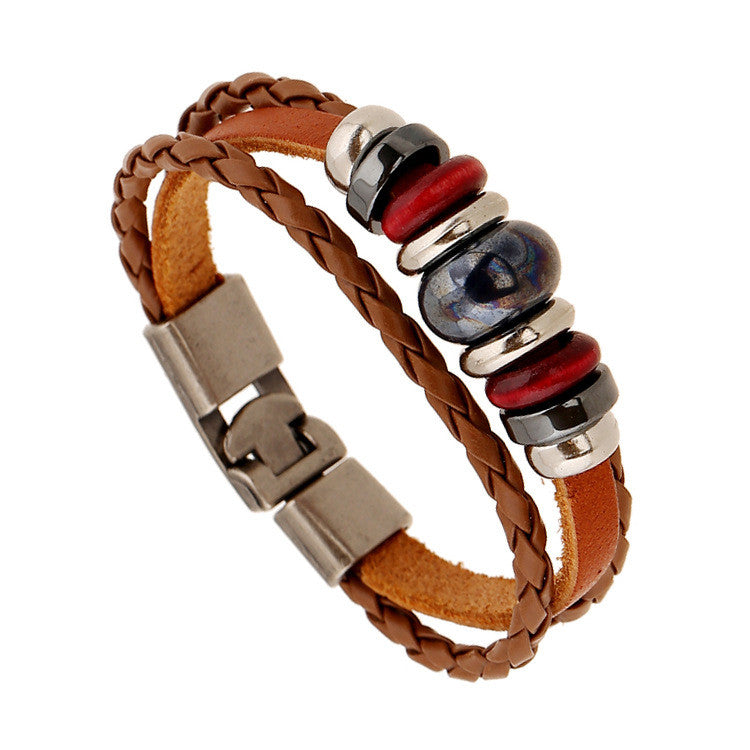 Hand-woven Multicolor Beaded Leather Bracelet - Oh Yours Fashion - 6