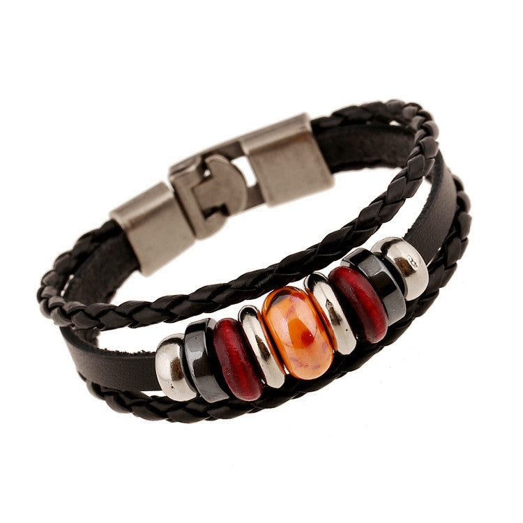 Hand-woven Multicolor Beaded Leather Bracelet - Oh Yours Fashion - 5