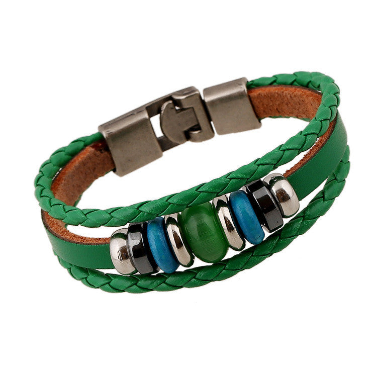 Hand-woven Multicolor Beaded Leather Bracelet - Oh Yours Fashion - 3