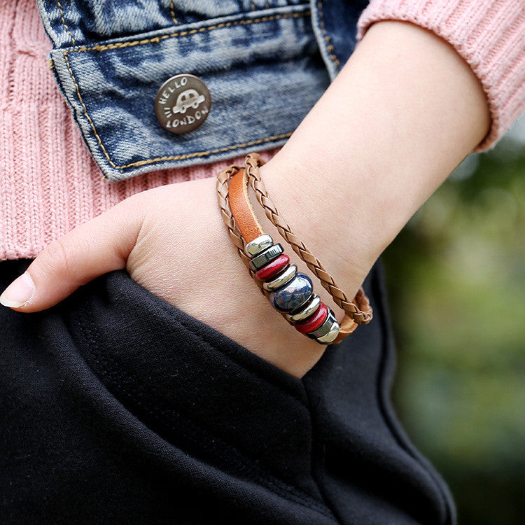Hand-woven Multicolor Beaded Leather Bracelet - Oh Yours Fashion - 8