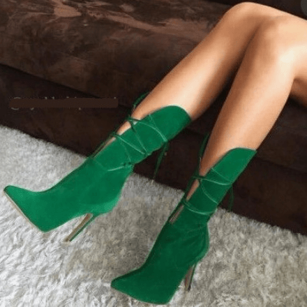 Green Lace Up High Heel Suede Mid Calf Boots