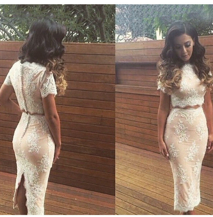 Lace Crop Top Bodycon Split Mid Skirt Two Pieces Dress Suit - Oh Yours Fashion - 1