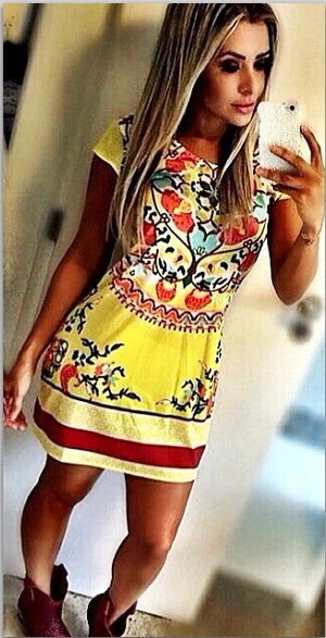 Retro Floral Print A-line Short Dress - O Yours Fashion - 2