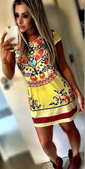 Retro Floral Print A-line Short Dress - O Yours Fashion - 3