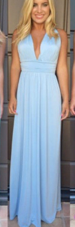 V-neck Cross Backless Sleeveless Long Dress - Oh Yours Fashion - 3