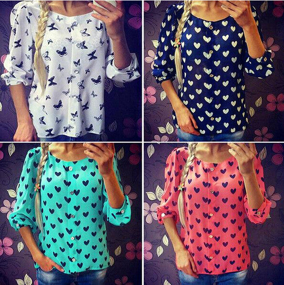 Scoop 1/2 Sleeves Flower Print Chiffon Fashion Blouse - Oh Yours Fashion - 3