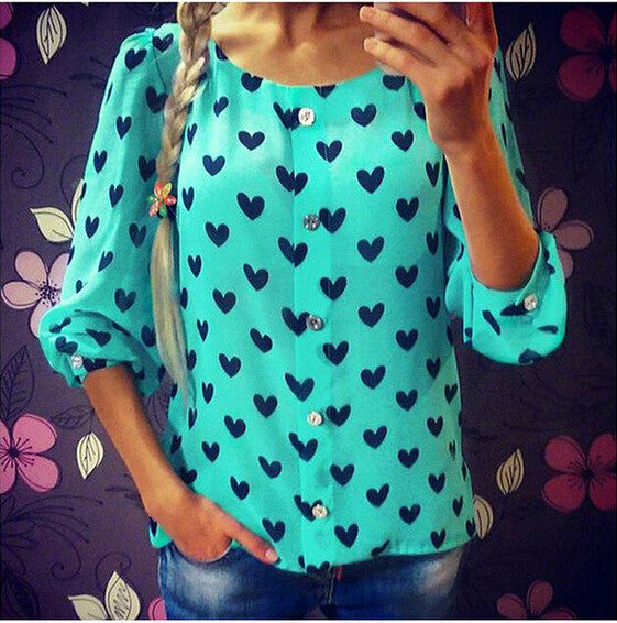 Scoop 1/2 Sleeves Flower Print Chiffon Fashion Blouse - Oh Yours Fashion - 5