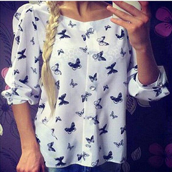 Scoop 1/2 Sleeves Flower Print Chiffon Fashion Blouse - Oh Yours Fashion - 6