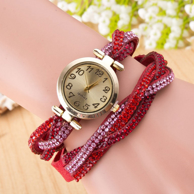 Beautiful Crystal Woven Bracelet Watch - Oh Yours Fashion - 1