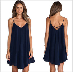 Loose V-neck Pleated Short Dress - Oh Yours Fashion - 1
