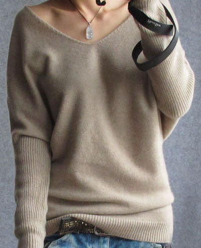 Loose V Neck Batwing Pullover Sweater - Oh Yours Fashion - 2