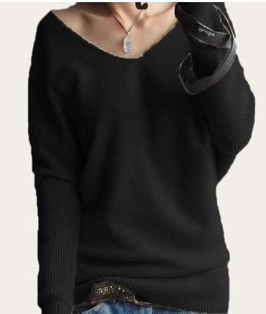 Loose V Neck Batwing Pullover Sweater - Oh Yours Fashion - 6