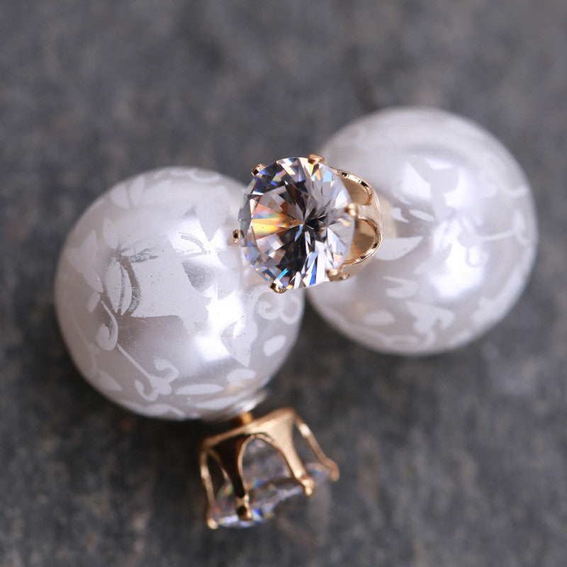 Printing Zircon Double Pearl Earring - Oh Yours Fashion - 4