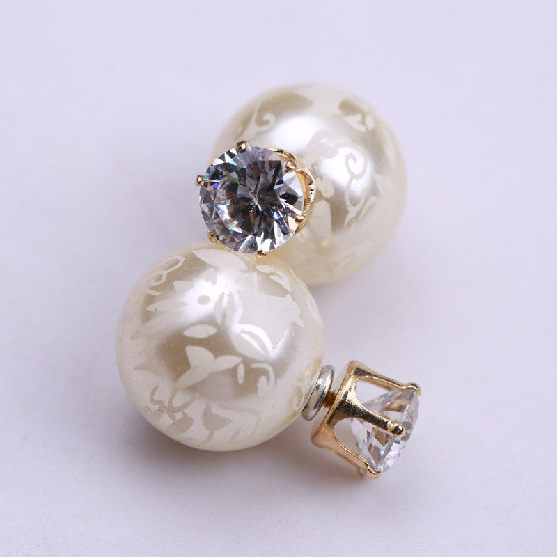Printing Zircon Double Pearl Earring - Oh Yours Fashion - 11