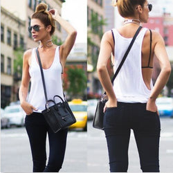 Pure Color Scoop Sleeveless Casual Sexy Vests - Oh Yours Fashion - 1