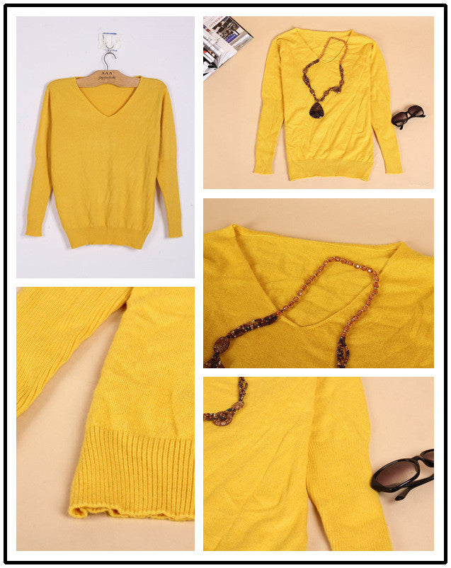 Loose V Neck Batwing Pullover Sweater - Oh Yours Fashion - 4