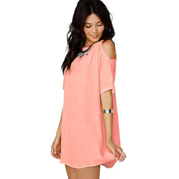Chiffon Hollow O-neck Short Sleeve Short Dress - Oh Yours Fashion - 7