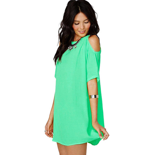 Chiffon Hollow O-neck Short Sleeve Short Dress - Oh Yours Fashion - 5