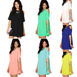 Chiffon Hollow O-neck Short Sleeve Short Dress - Oh Yours Fashion - 1