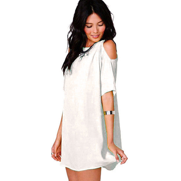 Chiffon Hollow O-neck Short Sleeve Short Dress - Oh Yours Fashion - 3